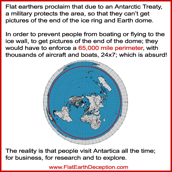 Flat Earthers say that they don't have pictures of the end of the ice wall and dome, because of the Antarctic Treaty; and that the military keeps people out.