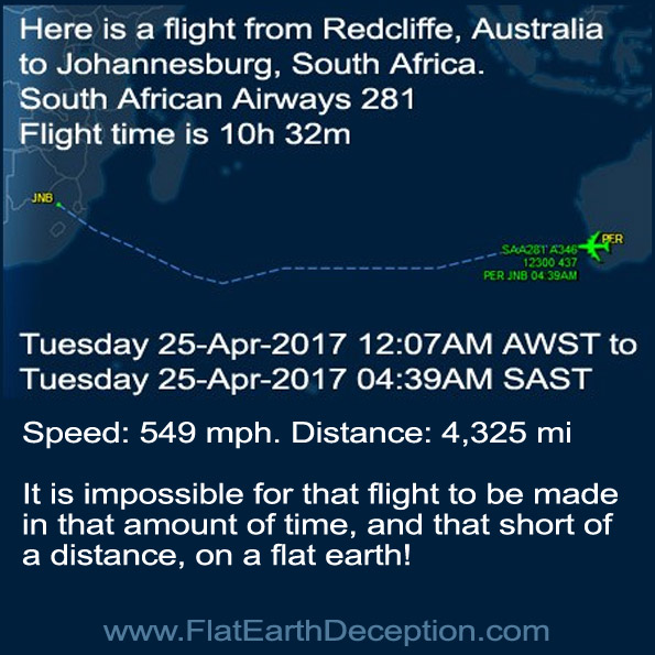 Here is a flight from Redcliffe, Australia to Johannesburg, South Africa.