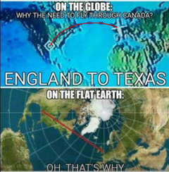 Flat earth flight map of plane from England to Texas
