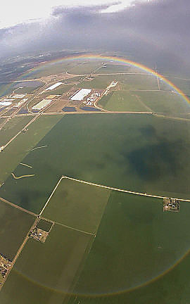 Here is a full circle rainbow taken from an airplane.