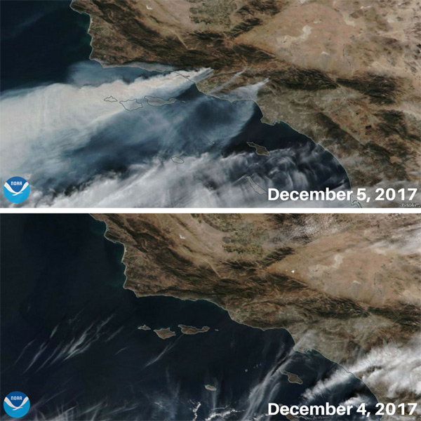 Before/After comparison of NOAA/NASA Suomi NPP #satellite true-color images of smoke from Southern California