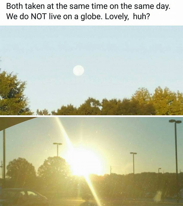 flat earther explanation, two pictures of the sun, same day