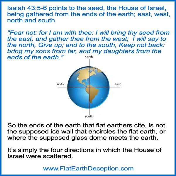 Isaiah 43:5-6 points to the seed, the House of Israel, being gathered from the four corners of the earth; east, west, north and south.