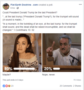 Flat Earther Nathan Roberts posted this poll on his Flat Earth Doctrine Facebook page: