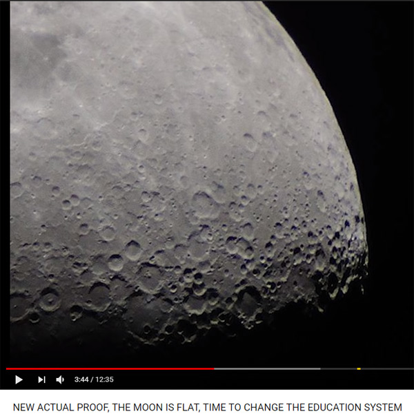 A new flat earth video was released called 'NEW ACTUAL PROOF, THE MOON IS FLAT, TIME TO CHANGE THE EDUCATION SYSTEM