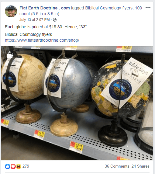 Nathan Roberts puts flat earth brochures on globes in store