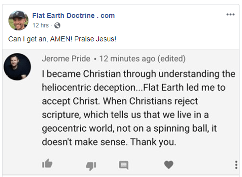Jerome Pride becomes a Christian because of the flat earth doctrine
