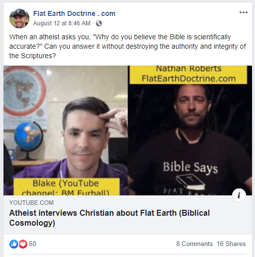 Nathan Roberts posted this video on his Flat Earth Doctrine Facebook page.