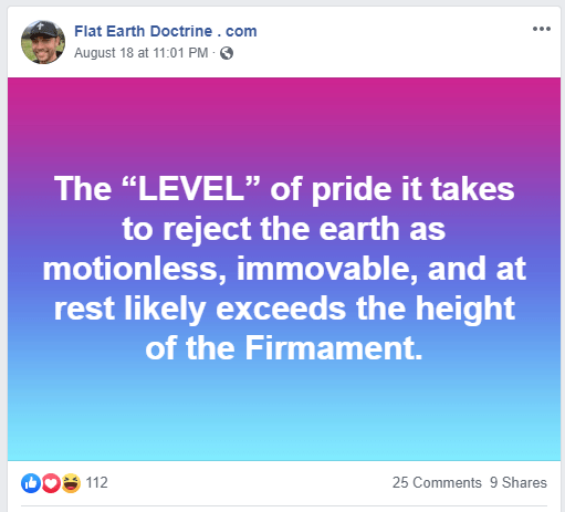 Nathan Roberts posted this on his Flat Earth Doctrine Facebook page.