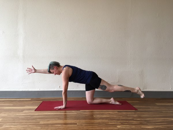 Flat Mat Yoga demonstrates variations on plank to build your shoulder and core strength for roller derby.