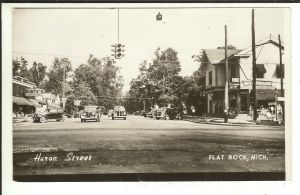 MICH RPPC Huron Street Flat Rock Michigan Real Photo Postcard