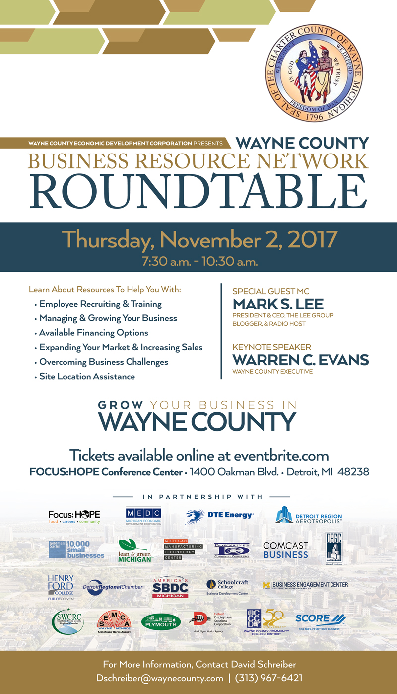 Round table discussion flyer - The Wayne County Business Resource Network Was Established To Make A Direct Connection With Area Businesses And County Resources And Partners To Assist In