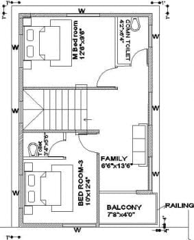 20x30 duplex plan - corner plot 2nd floor plan