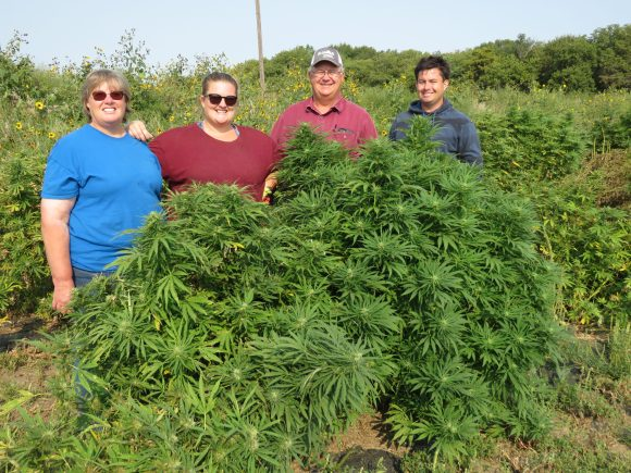 The Schwarzes, from left, Linda, Becky, Tom and Alex, have grown hemp since 2020, the first year Nebraska issued licenses to growers and processors. Their main farming business near Smithfield is growing certified organic corn, soybeans, alfalfa, field peas and cane. (Photo by Lori Potter, Flatwater Free Press)