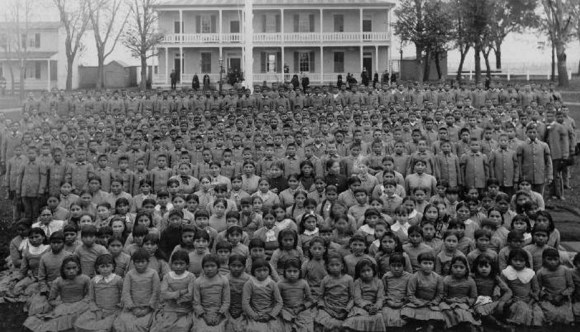 Native children at the United States Indian Industrial School in Carlisle, Pennsylvania in 1890.