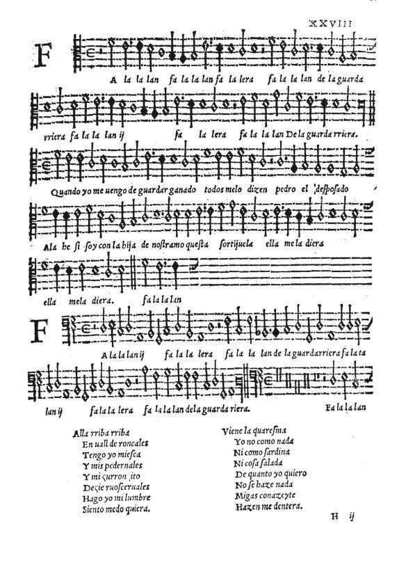 Fragmento de «Falalalan falalera» de Mateo Flecha el joven