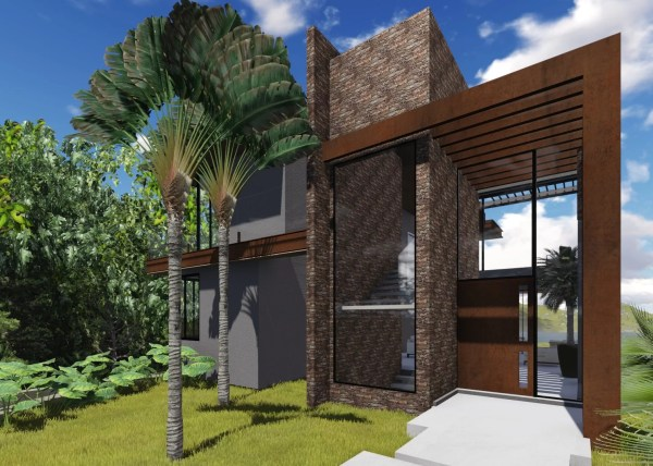 Projeto de Arquitetura para casa em estrutura metalica localizada no loteamento residencial alphaville genesis II