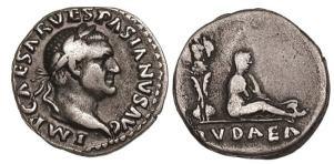 Vespasian Denarius, 69-70 AD, IMP CAESAR VESPASIANVS AVG / IVDAEA