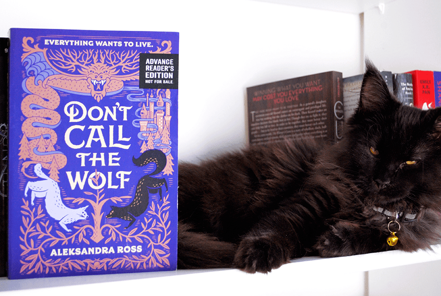 Photo of Don't Call the Wolf ARC by Flavia the Bibliophie (featuring her Maine Coon, Nox)