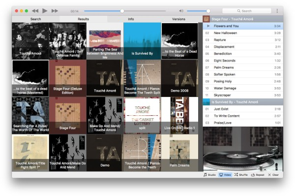 Musictube YouTube streaming music player for Mac Windows