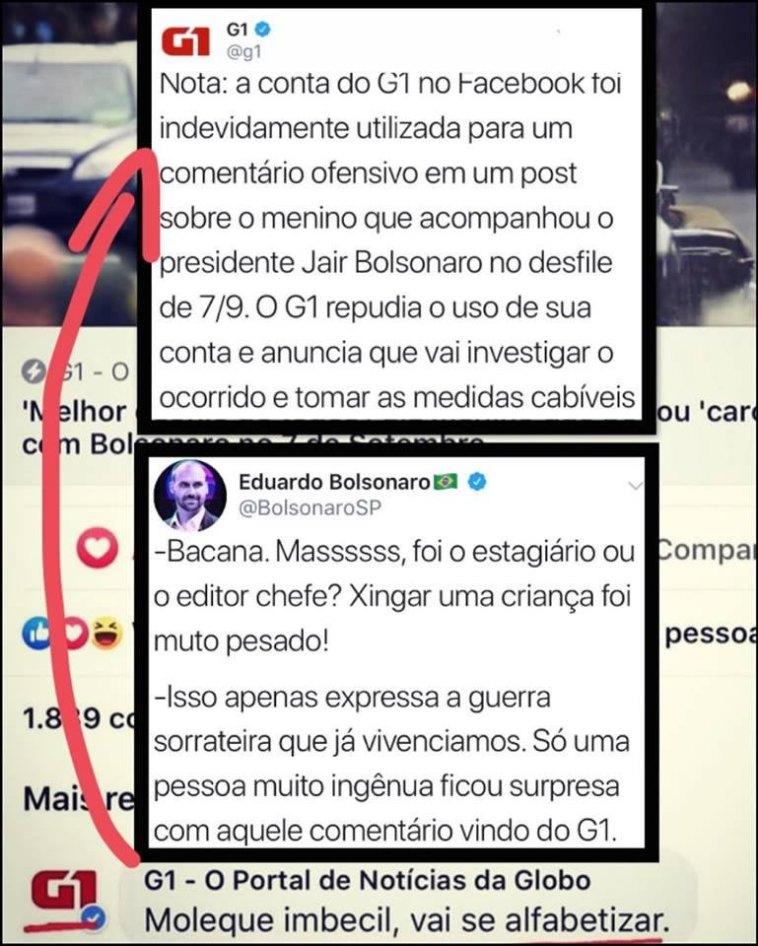 """PORTAL G1 DA GLOBO CHAMA MENINO QUE DESFILOU COM BOLSONARO DE """"MOLEQUE IMBECIL."""""""