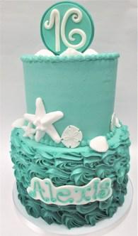 two tier ombre rosette seashell cake