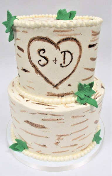 two tier birch tree leaves cake