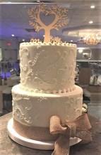 two tier scroll cake burlap