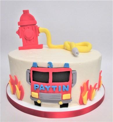 fire truck flames hydrent cake