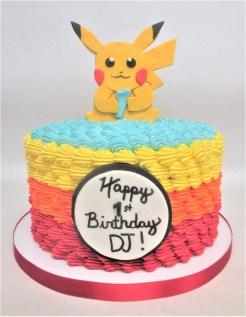 pikachu multi color ombre cake