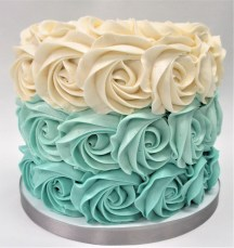 teal ombre rosette cake