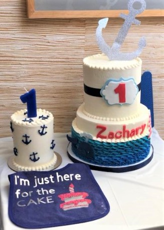 anchor whale ruffle two tier cake