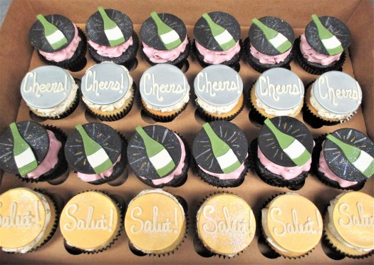 champagne cheers salut cupcake toppers
