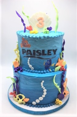 two tier sea ombre fish cake edible image