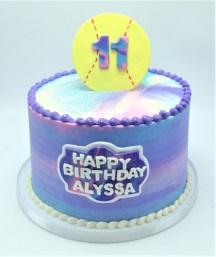 watercolor softball cake