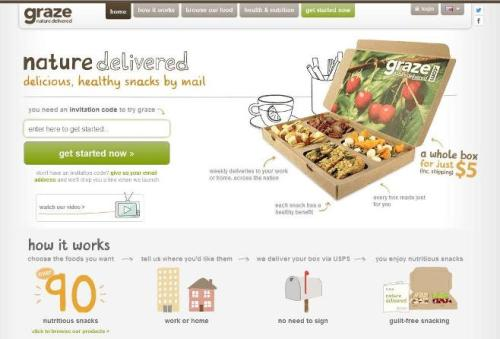 screenshot of graze.com healthy snack food delivery website landing page
