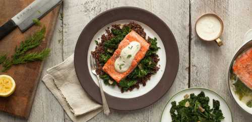 Poached Salmon with Red Quinoa, Kale, and Dill Yogurt Sauce
