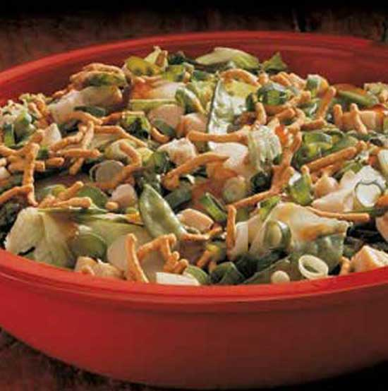 This satisfying Asian Cashew Chicken Salad is crunchy, nutty and sweet all at the same time. To speed up preparation, I use chow mein noodles instead of fried wonton wrappers called for in the original recipe.