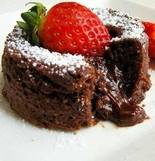 Chocolate Lava Cakes with Strawberries