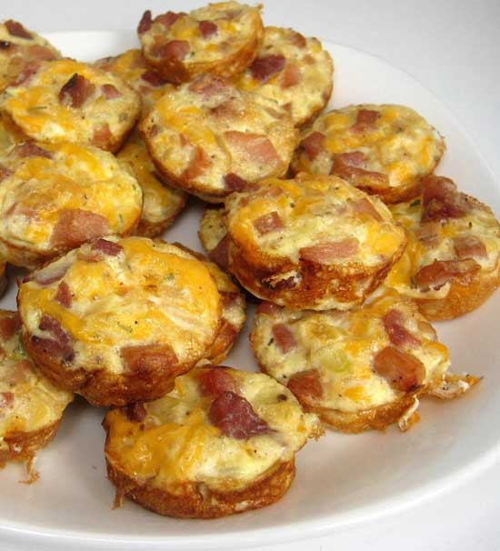 Recipe for Mini Frittatas with Ham and Cheese