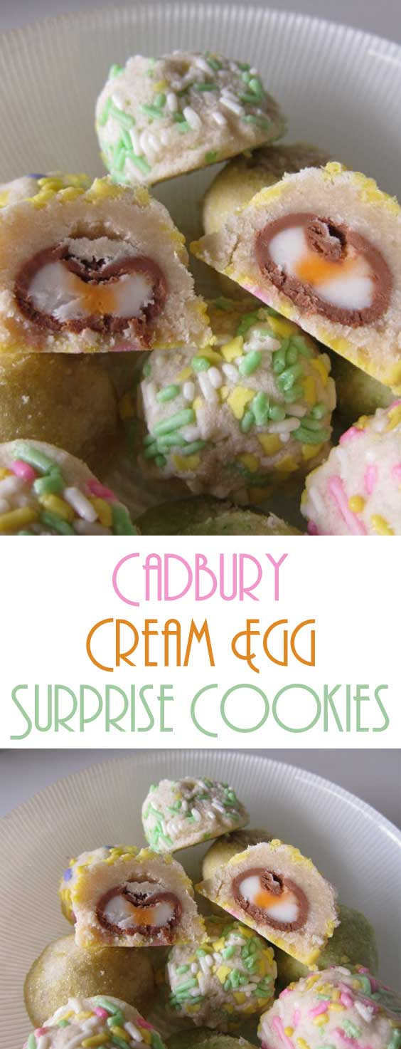 Here is a cookie that screams Easter. Pastel colored cookies, filled with Cadbury cream eggs! It's a treat inside of a treat. #easterdessert #easterrecipe #eastercookies