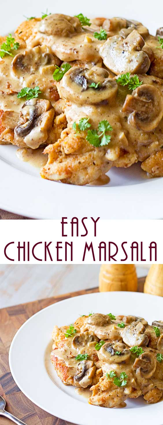 This delicious Easy Chicken Marsala recipe is both easy and elegant. Fresh mushrooms are sautéed in butter and garlic then tossed in cream that's flavored with Marsala. Your family will think you slaved over a hot stove for hours! Try this quick and easy dinner. #chickenrecipe #dinnerideas #datenight