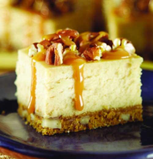 Caramel Pecan Cheesecake Squares