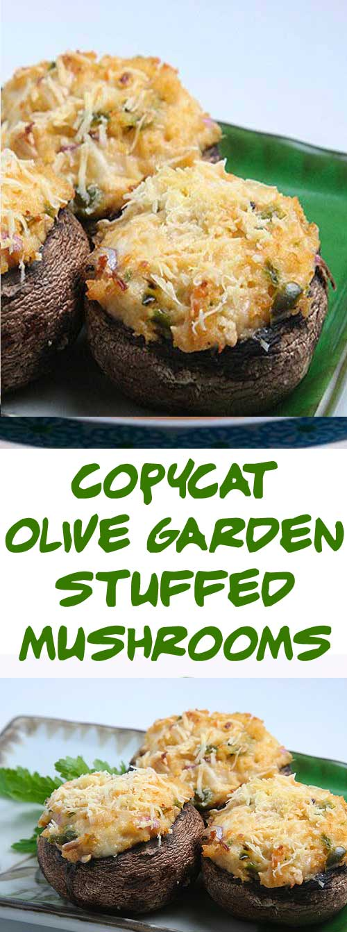 Olive Garden Stuffed Mushrooms some of the best known stuffed mushrooms.  They are easy to make, and you can make as many as you want. #copycatrecipe #stuffedmushrooms #olivegarden