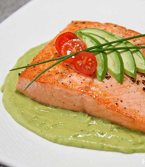 Pan Seared Salmon with Spicy Avocado Puree