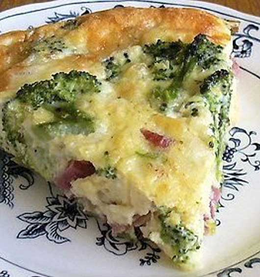 Recipe for Broccoli and Ham Quiche - Now we think of all the ways we can use up that leftover ham, brunch anyone.. really good for dinner as well!!