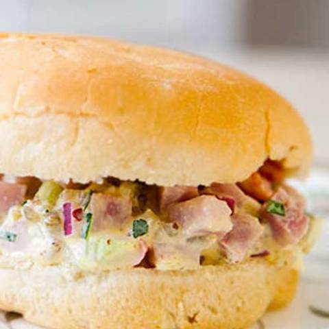 Here's one of those feed-a-lot-of-people comfort food salads that you can easily make with leftover ham. Ham salad. Put it in a sandwich, eat it plain, add it to macaroni; it's all good.