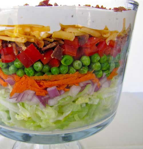 Recipe for Layered Picnic Salad - This salad usually has something for everyone with all the different components of sweet, salty, crunchy and creamy. It is important however, that all the ingredients are at their prime.