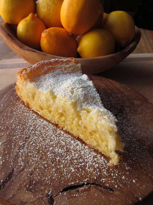 Recipe for Gooey Meyer Lemon Butter Cake - If you make this cake, be sure to have a few friends around to help you eat it soon after it comes out of the oven, so you don't eat the entire thing by yourself!
