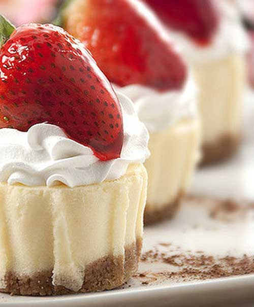 Recipe for Mix and Match Mini Cheesecakes - With this recipe you can mix and match toppings for your showers and parties.. 10 extra possibilities included!!